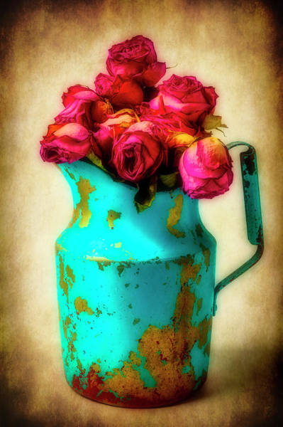 Wall Art - Photograph - Dried Pink Roses In Blue Pitcher by Garry Gay