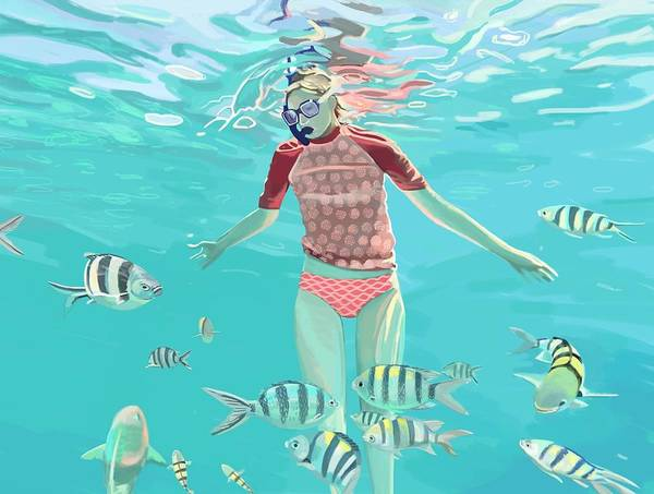 Reef Diving Digital Art - Drifting by Plum Ovelgonne