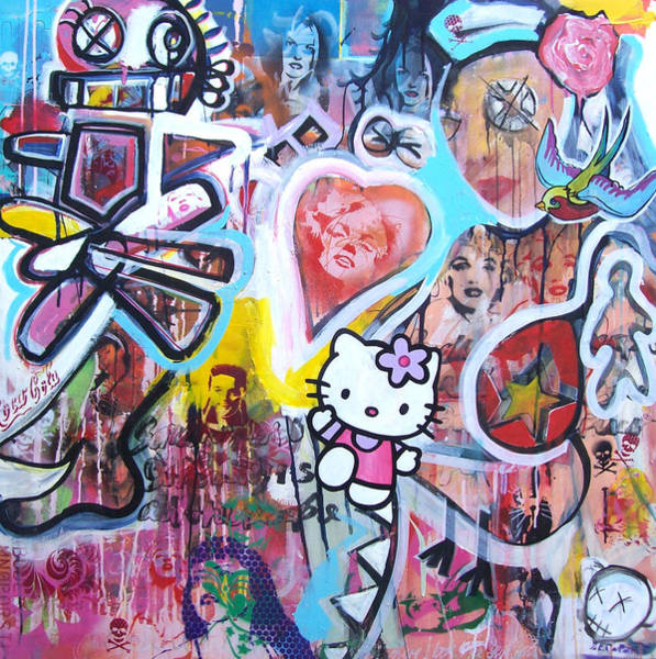 Hello Kitty Wall Art - Painting - Drifting Through A Paper Cup by Peter Walker