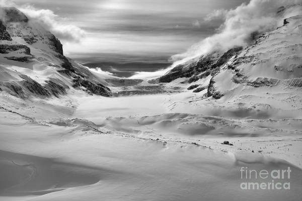 Photograph - Drifts And Clouds At The Athabsca Glacier Black And White by Adam Jewell