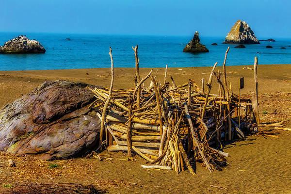 Lean-tos Photograph - Driftwood Hut Sonoma Beach by Garry Gay