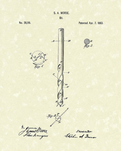 Drill Bits Wall Art - Drawing - Drill Bit Morse 1863 Patent Art by Prior Art Design