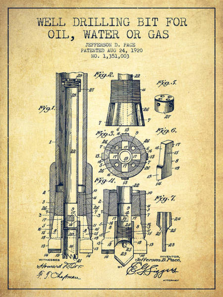 Drilling Wall Art - Digital Art - Drilling Bit For Oil Water Gas Patent From 1920 - Vintage by Aged Pixel