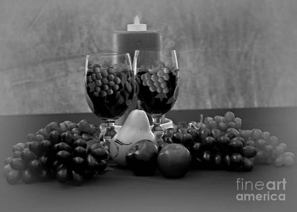 Wall Art - Photograph - Drink For Two In Black And White by Sherry Hallemeier