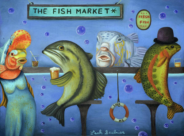 Painting - Drink Like A Fish by Leah Saulnier The Painting Maniac