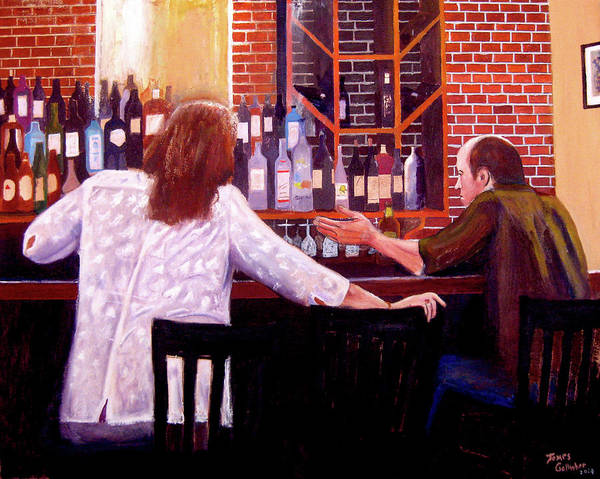 Wall Art - Painting - Drinkers by James Gallagher