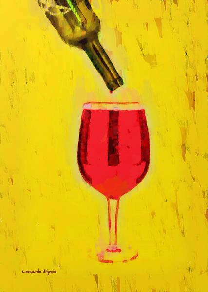 Cellar Digital Art - Drinking All - Da by Leonardo Digenio