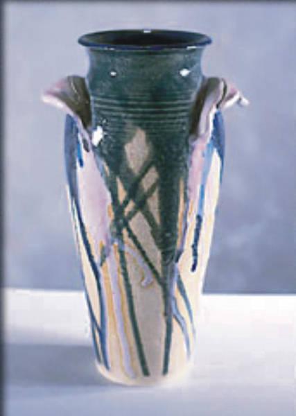 Stoneware Wall Art - Ceramic Art - Drip Glazed Stoneware Wheel Thrown Vase by Carolyn Coffey Wallace