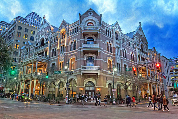 Stop Light Photograph - Driskill Hotel Light The Night by Betsy Knapp