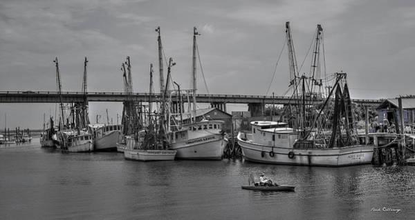 Photograph - Drive By Fishing B W Tybee Island Shrimp Boats U. S. Route 80 Art by Reid Callaway