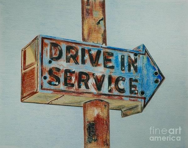 Neon Drawing - Drive In Service by Glenda Zuckerman