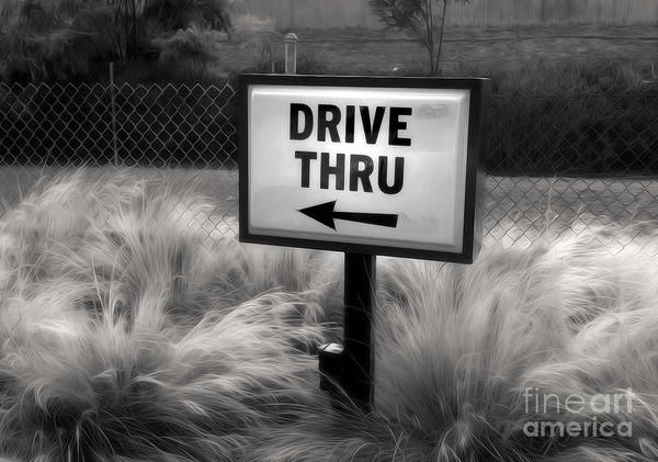 Painting - Drive Thru Sign In Black And White by Gregory Dyer