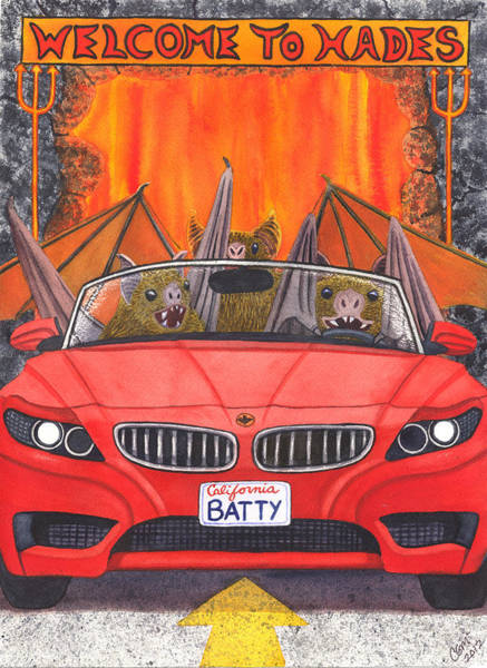 Painting - Driving Like Bats Out Of Hell by Catherine G McElroy
