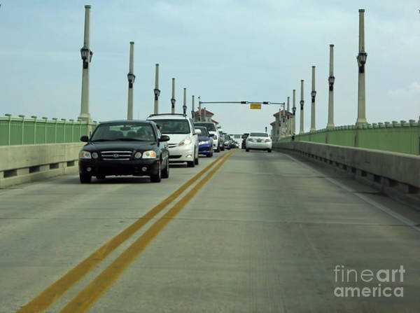 Matanzas Inlet Wall Art - Photograph - Driving Over The Bridge Of Lions by D Hackett