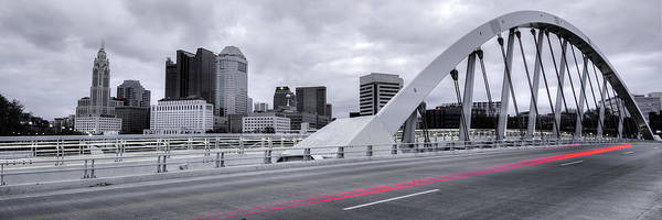 Photograph - Driving Through Downtown Columbus Ohio - Main Street Bridge And Skyline Panorama by Gregory Ballos