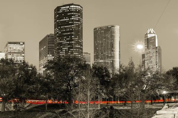 Photograph - Driving Through Houston Texas - Sepia by Gregory Ballos