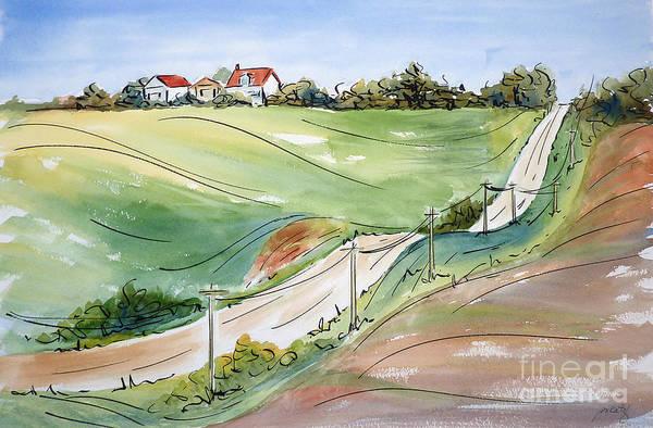Farmstead Painting - Driving Through Iowa by Pat Katz