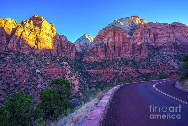 Wall Art - Photograph - Driving Through Zion National Park Sunrise Light by Mike Reid