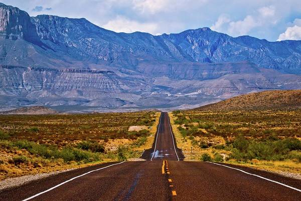 Chisos Mountains Photograph - Driving To The Blue by Linda Unger