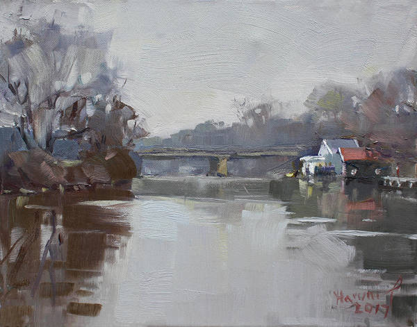 Tonawanda Wall Art - Painting - Drizzling At Tonawanda Canal  by Ylli Haruni