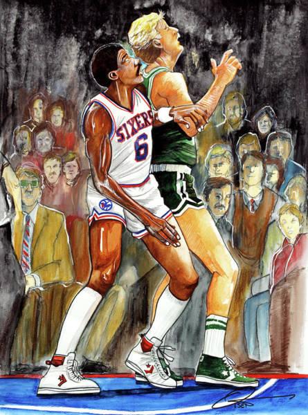 76ers Painting - Dr.j Vs. Larry Bird by Dave Olsen