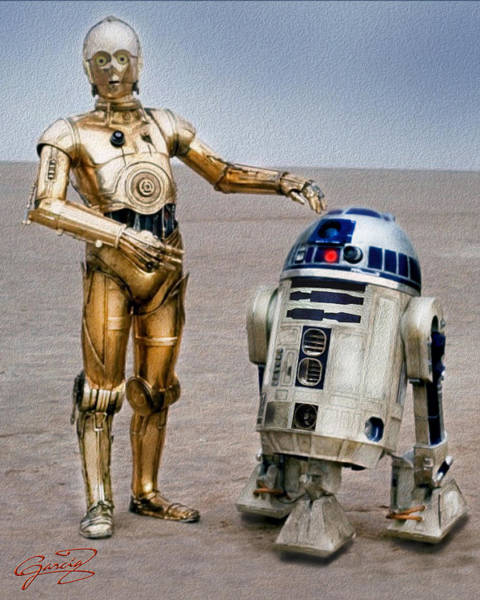 Episode Iv Wall Art - Painting - Droids On Tatooine by Ed Garcia
