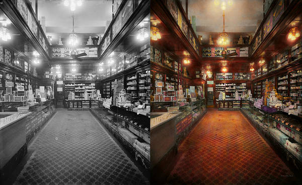 Wall Art - Photograph - Drugstore - G.w. Armstrong Drug Store 1913 - Side By Side by Mike Savad