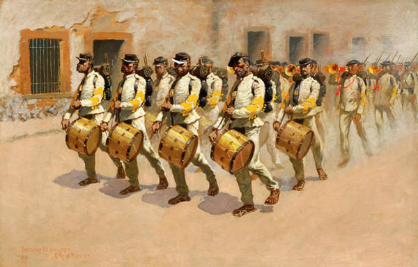 Blanket Painting - Drum Corps by Frederic Remington