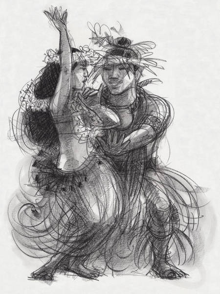 Drawing - Drum Dance Pas-de-deux by Judith Kunzle
