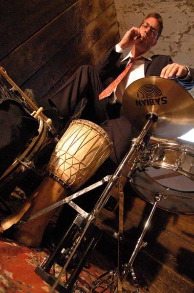 Ballston Spa Photograph - Drum Man Smoking by Mary Curtis