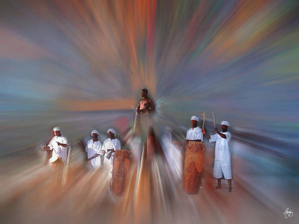 Photograph - Drummers In A Blue Forest by Wayne King