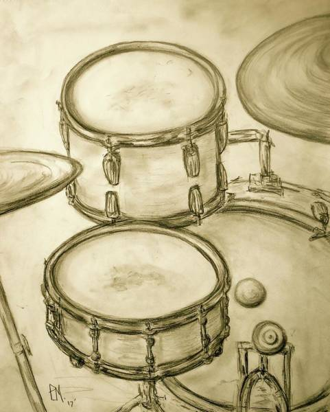 Drum Circle Wall Art - Drawing - Drummers View by Pete Maier