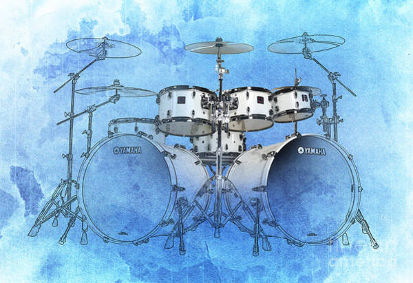 B B King Wall Art - Drawing - Drums Blue Background by Drawspots Illustrations