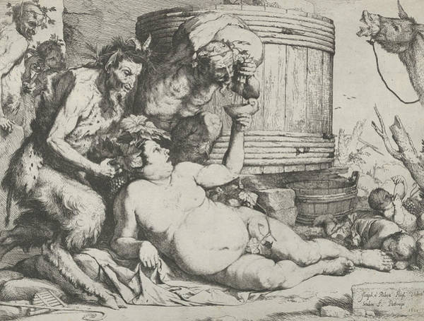 Drunken Silenus Holding A Cup Aloft Into Which A Satyr Pours Wine Art Print