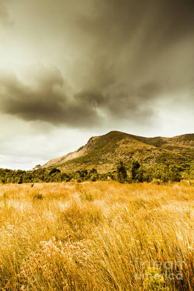 Humid Photograph - Dry Grassland And Stormy Mountains  by Jorgo Photography - Wall Art Gallery