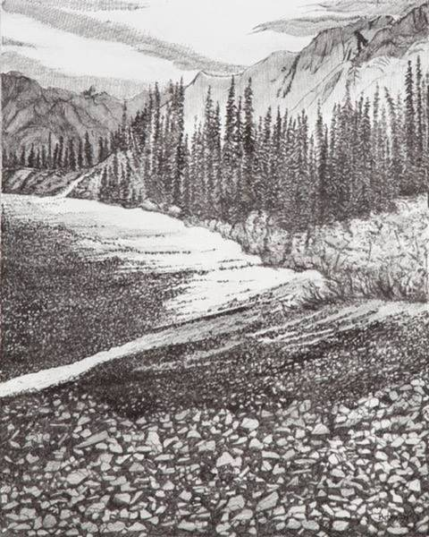 Drawing - Dry Riverbed by Betsy Carlson Cross