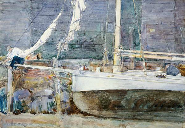 Painting - Drydock, Gloucester by Childe Hassam