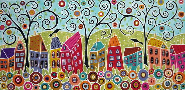 Wall Art - Painting - Dsc01598-swirl Tree Village by Karla Gerard
