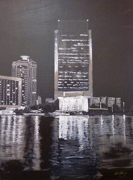 Painting - Dubai At Night by Richard Le Page