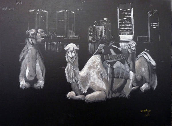 Painting - Dubai Camels by Richard Le Page