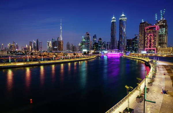 Wall Art - Photograph - Dubai Canal At Night by Alexey Stiop