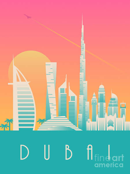 Wall Art - Digital Art - Dubai City Skyline Retro Art Deco Tourism - Morning by Ivan Krpan
