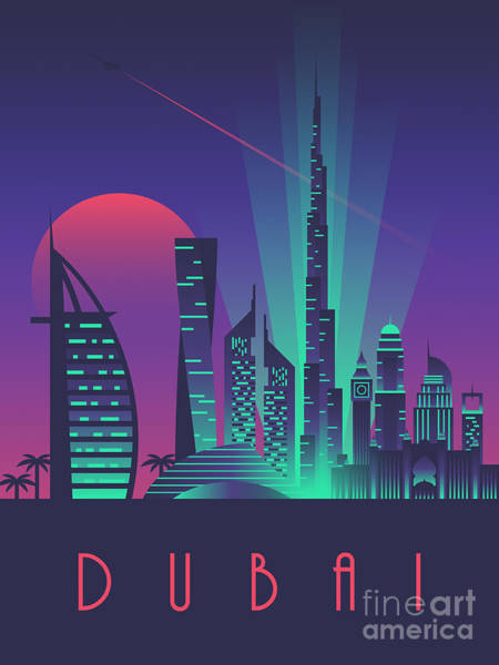 Wall Art - Digital Art - Dubai City Skyline Retro Art Deco Tourism - Night by Ivan Krpan