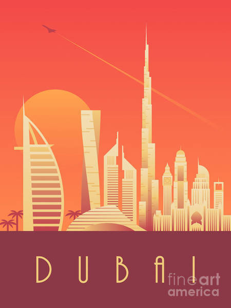 Wall Art - Digital Art - Dubai City Skyline Retro Art Deco Tourism - Sunset by Ivan Krpan