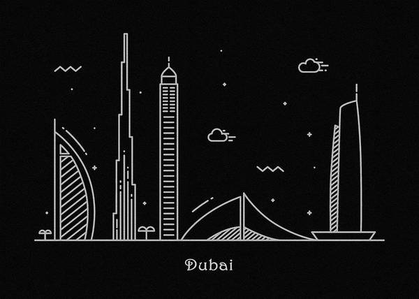 Dubai Skyline Travel Poster Art Print