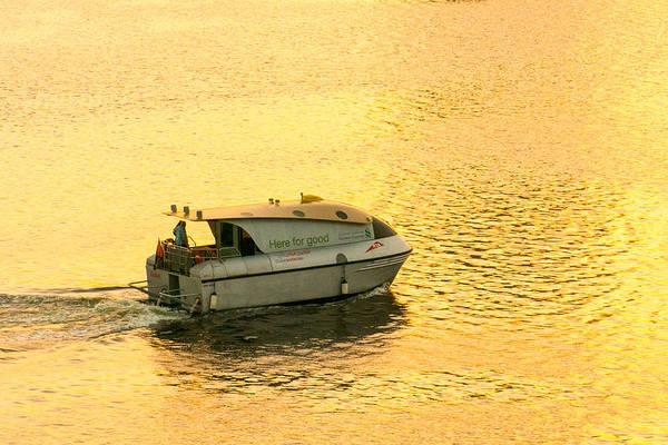 Photograph - Dubai Water Taxi At Sunrise by SR Green
