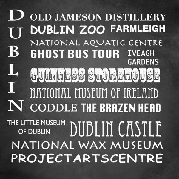Wall Art - Digital Art - Dublin Famous Landmarks by Patricia Lintner