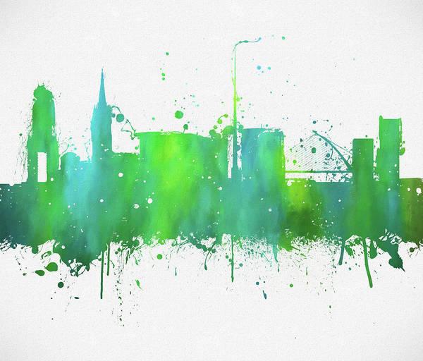 Wall Art - Painting - Dublin Ireland Colorful Skyline by Dan Sproul