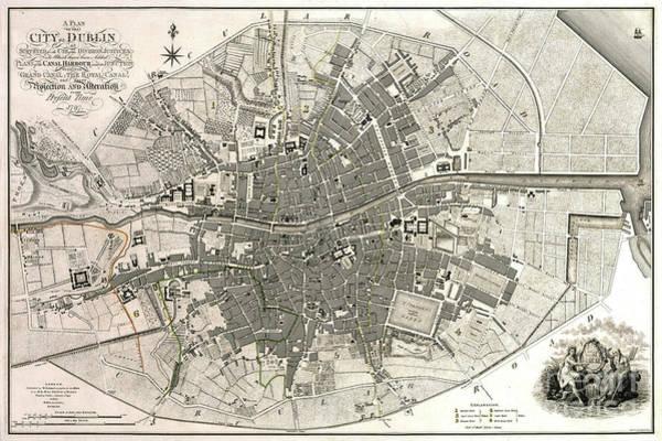 Wall Art - Photograph - Dublin Ireland Map Ca1797 by Jon Neidert