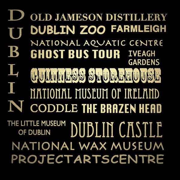 Famous Places Digital Art - Dublin Ireland Famous Landmarks by Patricia Lintner
